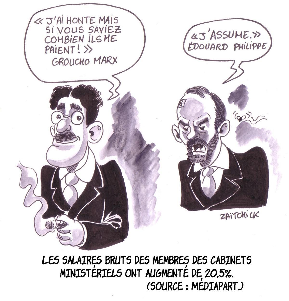 dessin d'actualité humoristique montrant la réaction de Groucho Marx et d'Édouard Philippe à leur augmentation de salaire
