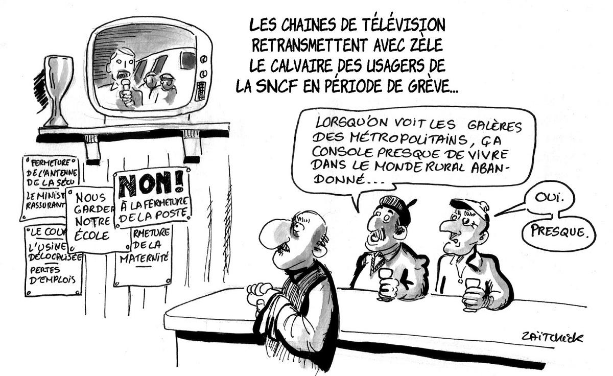 dessin d'actualité humoristique de campagnards regardant à la télévision le calvaire des usagers de la SNCF
