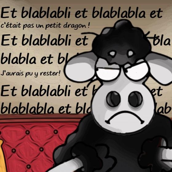 photomontage de présentation des moutons noirs - Edgar écoute Émilie s'expliquer