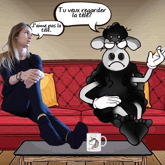 photomontage de présentation des moutons noirs - Edgar et Émilie parlant de la télé