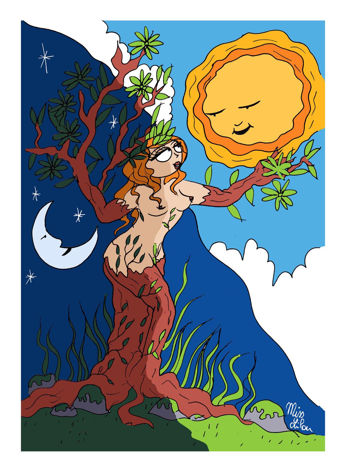 dessin symbolisant l'arrivée du printemps et le réveil de Dame Nature