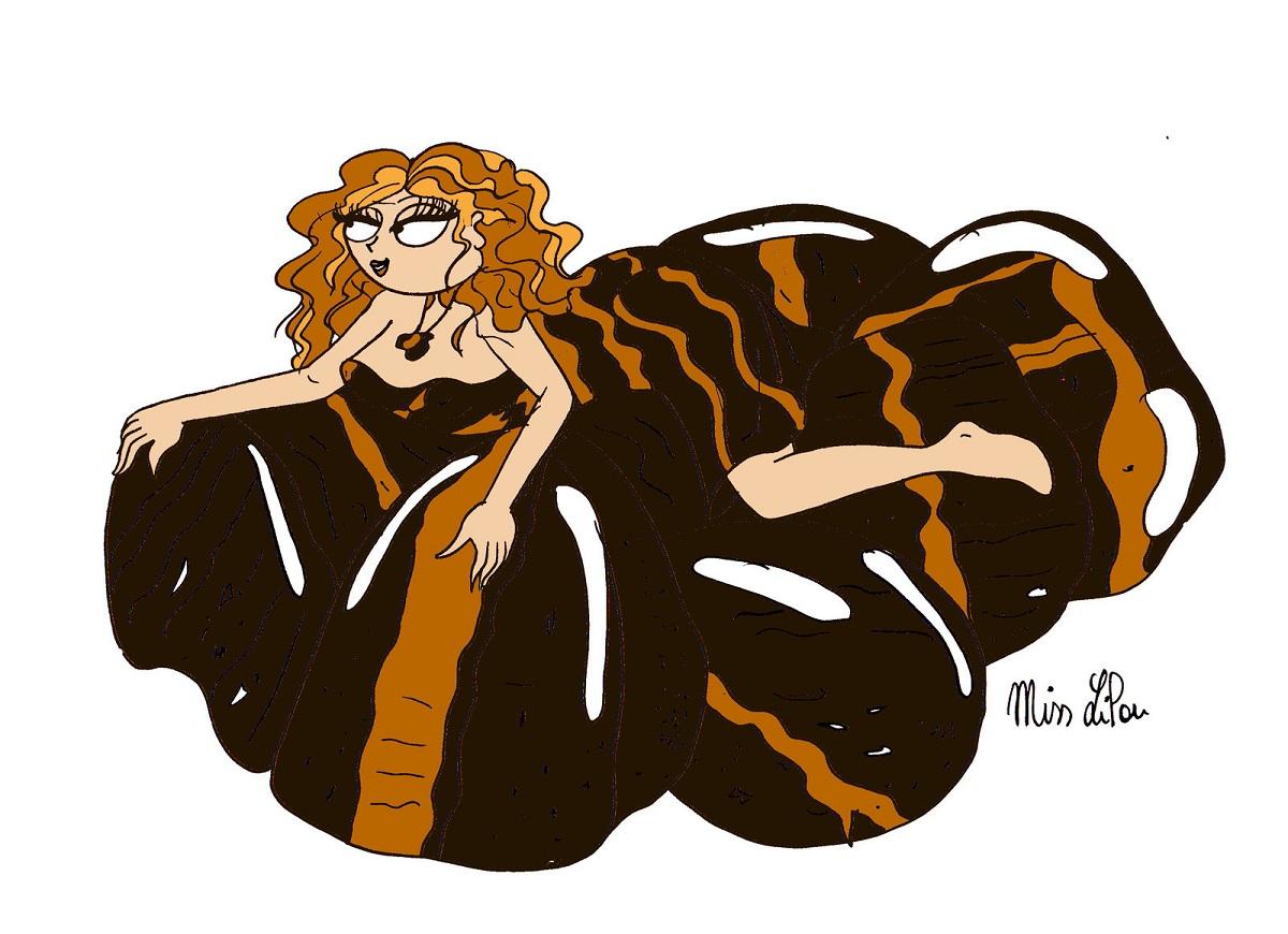 dessin d'une femme protégée par la pierre oeil du tigre