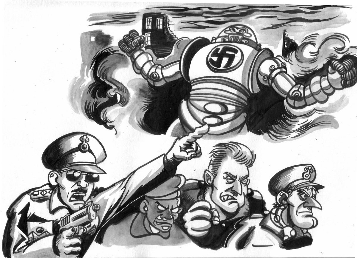 "planche essai 2a de la BD ""Commando Blitz"""
