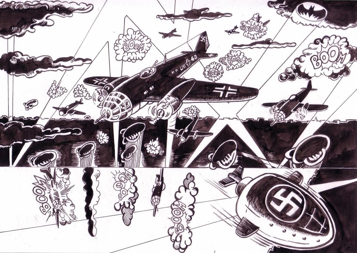 "Planche essai le blitz de la BD ""Commando Blitz"""