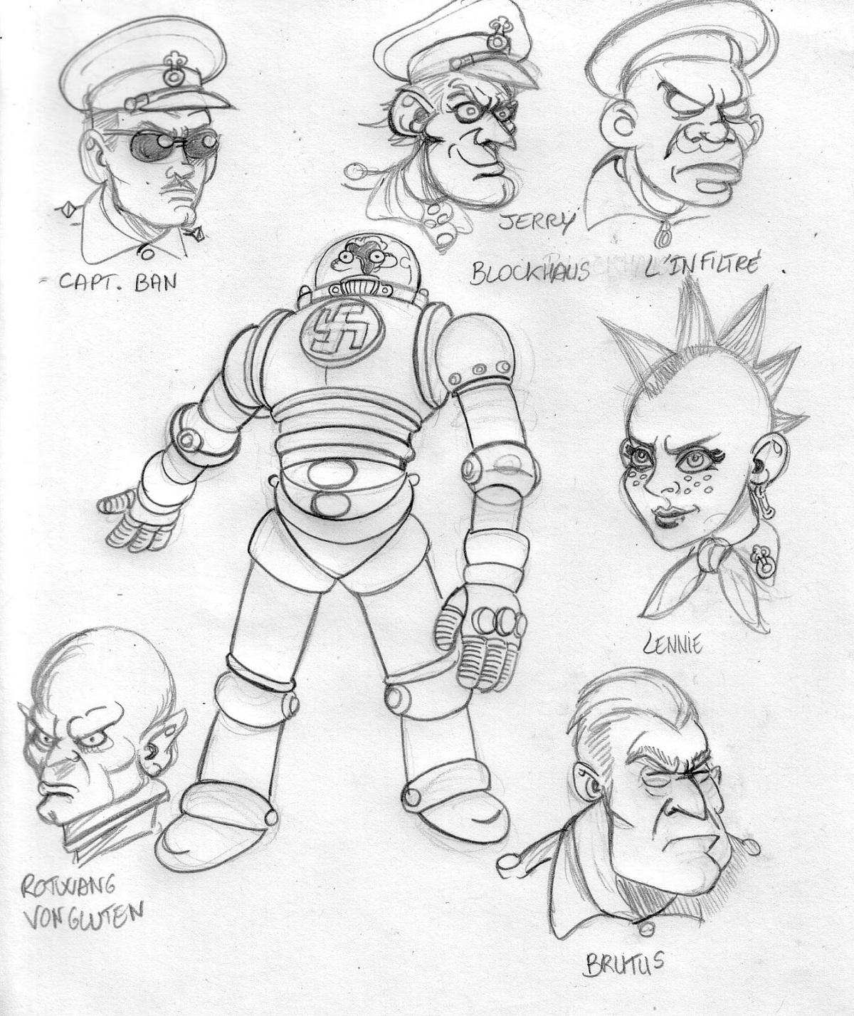 """Etude de personnages pour la BD """"Commando Blitz"""""""