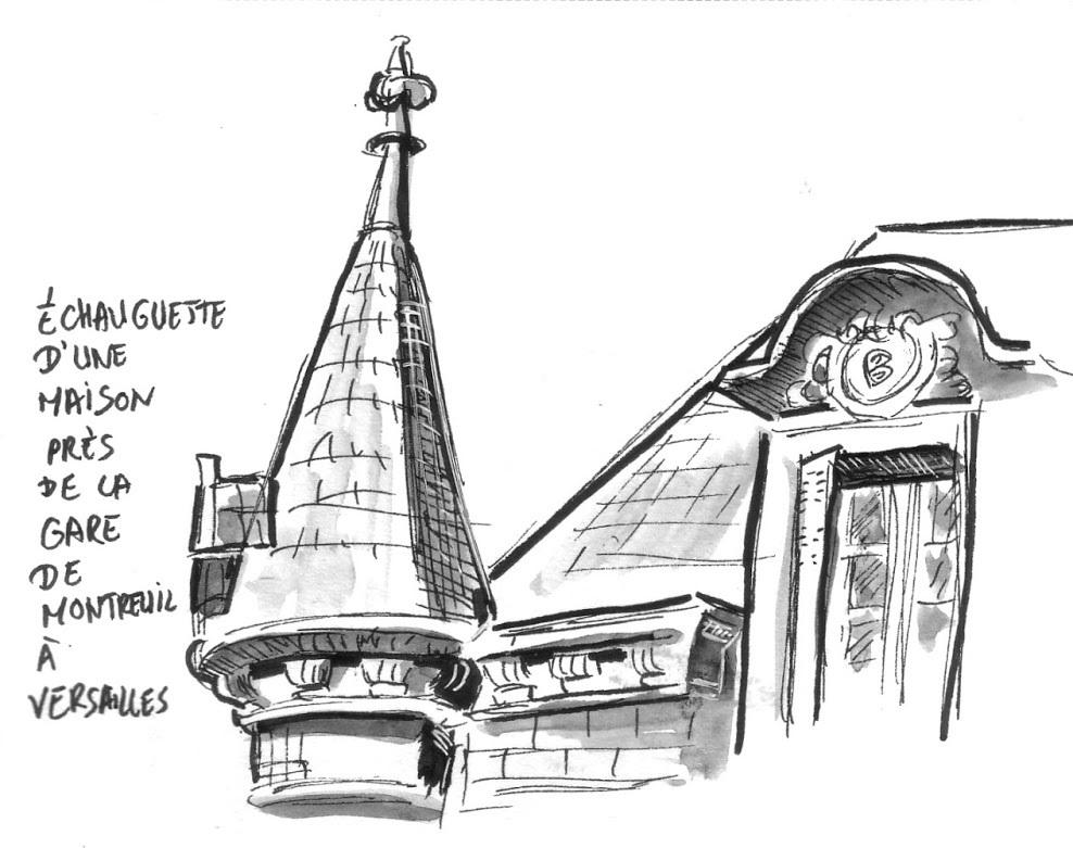 dessin de l'échauguette d'une maison près de la gare de Montreuil à Versailles