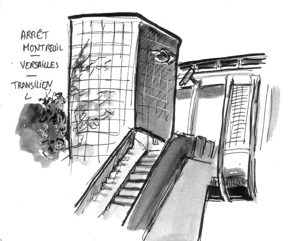 dessin de l'arrêt Montreuil de la gare de Montreuil à Versailles