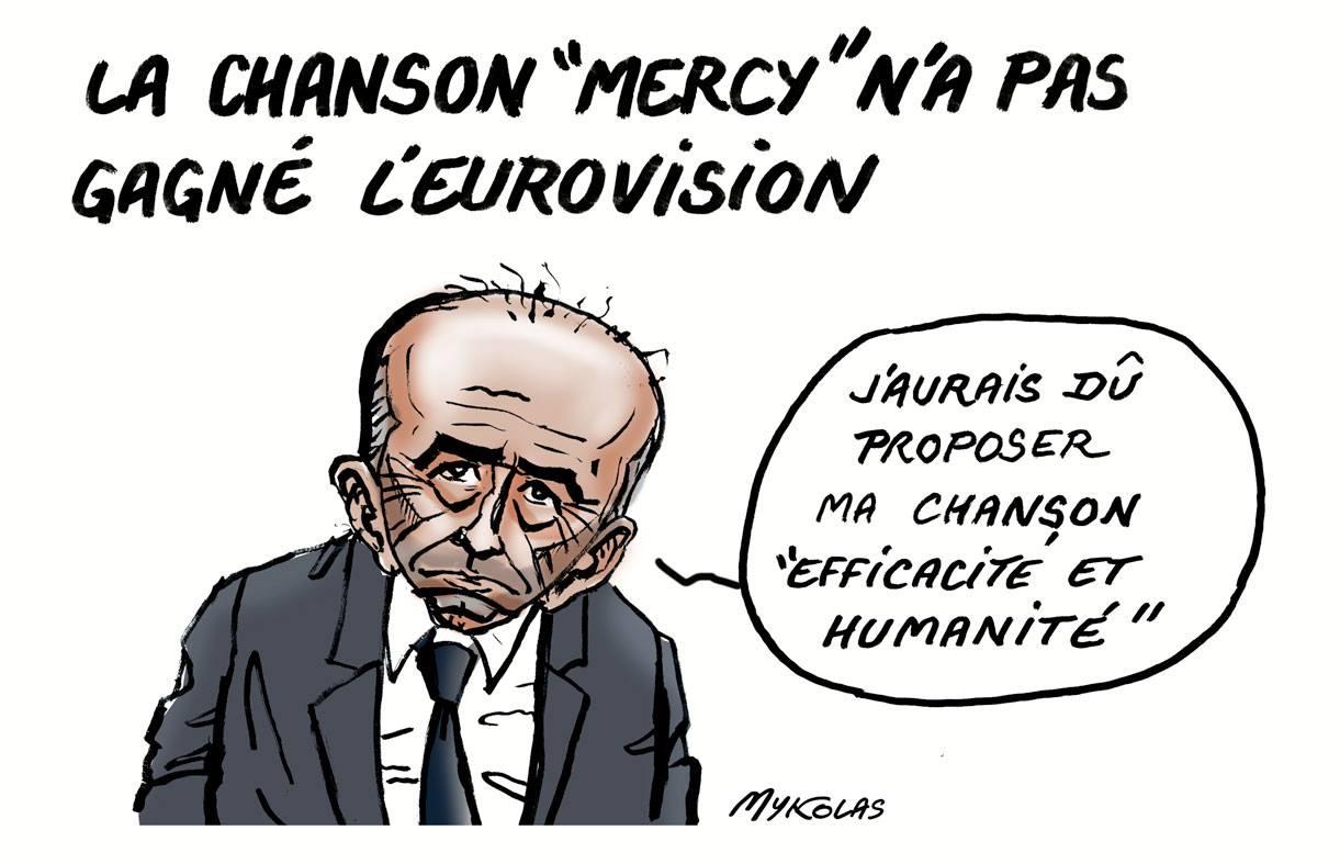 dessin d'actualité humoristique de Gérard Collomb parlant de la défaite de la France au concours de l'Eurovision