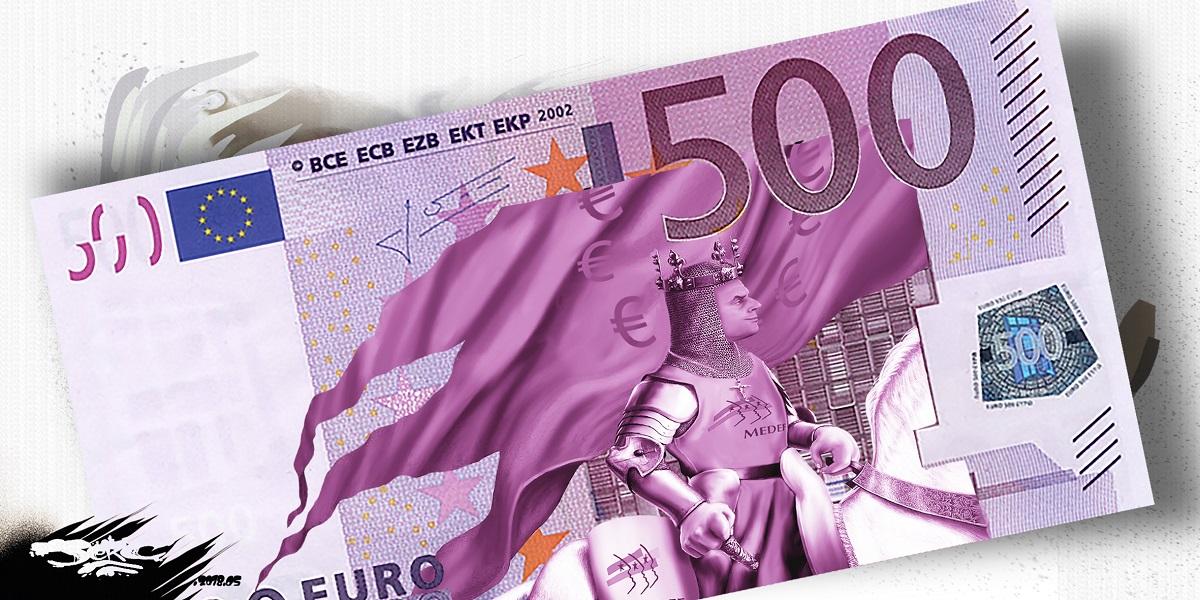 dessin d'actualité humoristique montrant le nouveau billet de 500 euros avec Charlemagne-Macron
