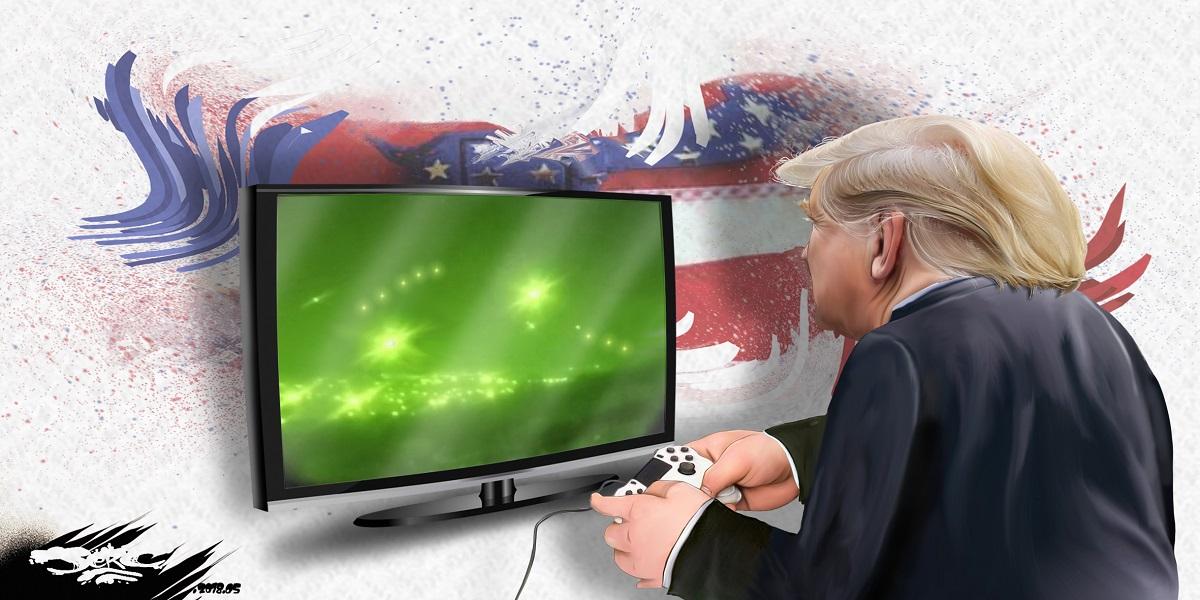 dessin d'actualité humoristique montrant Donald Trump en train de jouer au bombardement sur une Playstation