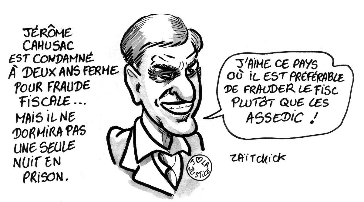 dessin d'actualité humoristique montrant Jérôme Cahuzac parlant de sa condamnation pour fraude fiscale