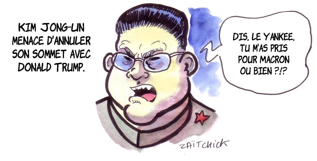 dessin d'actualité humoristique de Kim Jong-un menaçant d'annuler son sommet avec Donald trump
