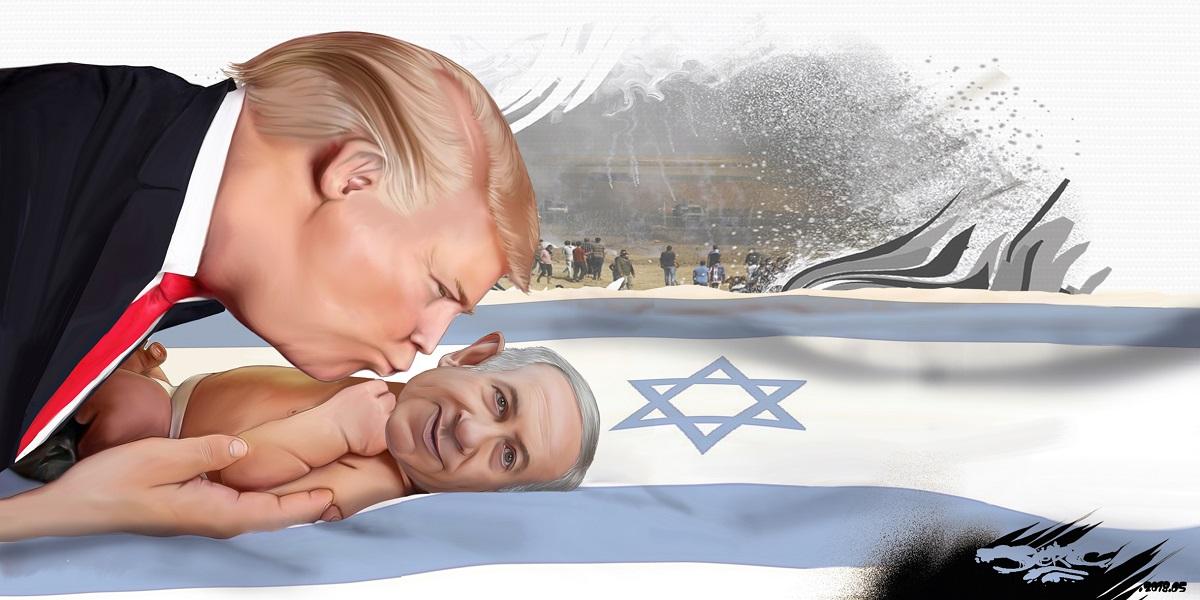 dessin d'actualité humoristique montrant Donald Trump bisouillant le bébé Benyamin Netanyahou