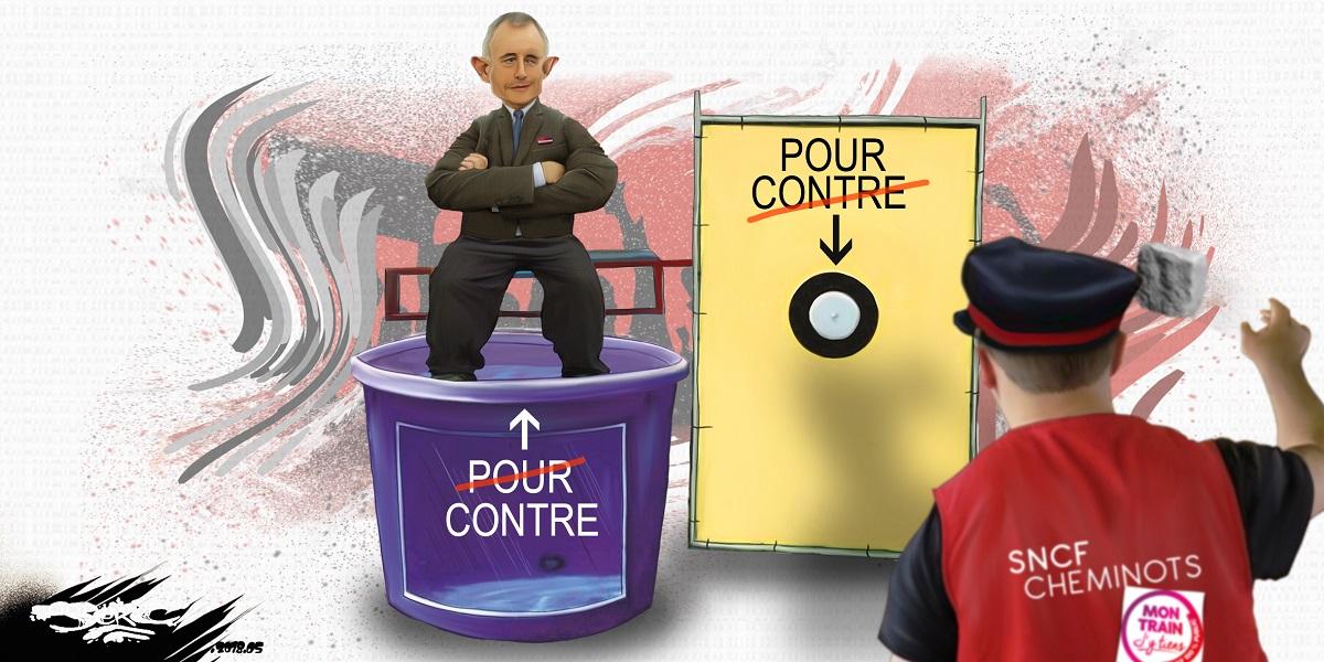 dessin d'actualité humoristique montrant Guillaume Pepy sur la sellette du vot'action