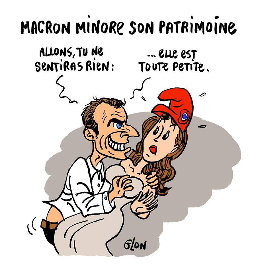 dessin d'actualité humoristique montrant Emmanuel Macron minorant son patrimoine avant de violer Marianne