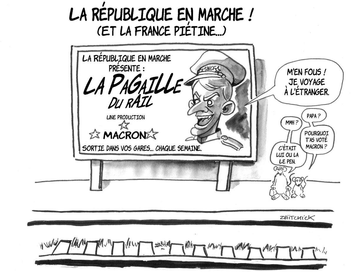dessin d'actualité sur la grève à la SNCF mis en scène par Emmanuel Macron