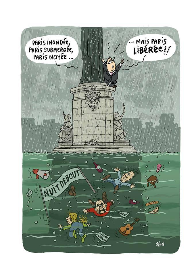 dessin d'actualité illsutrant la cru de la Seine noyant le mouvement Nuit Debout