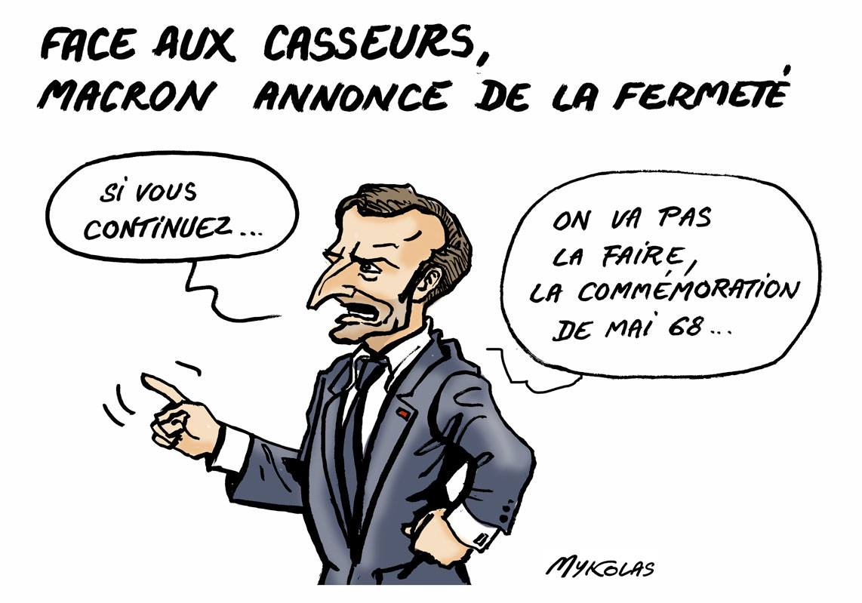 dessin d'actualité montrant Emmanuel Macron dénonçant fermement les casseurs du 1er mai