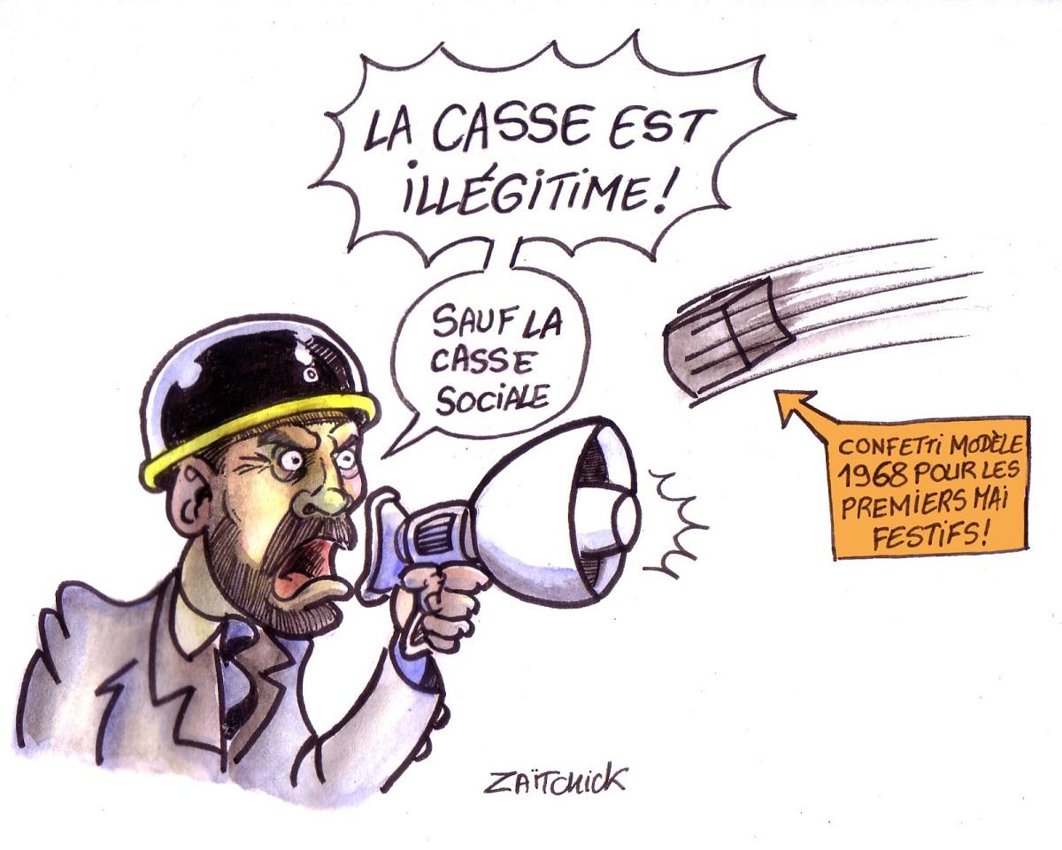 dessin d'actualité montrant Emmanuel Philippe fustigeant la casse lors des manifestations