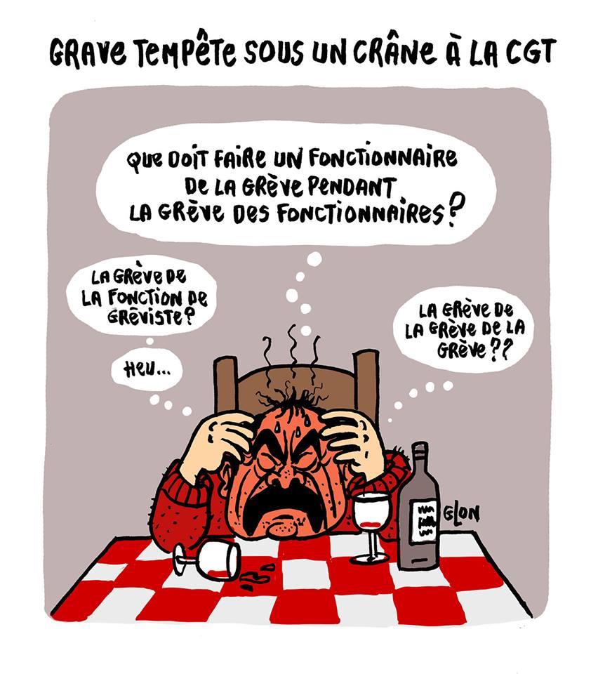 dessin d'actualité montrant Philippe Martinez réfléchissant aux prochaines actions de grève de la CGT