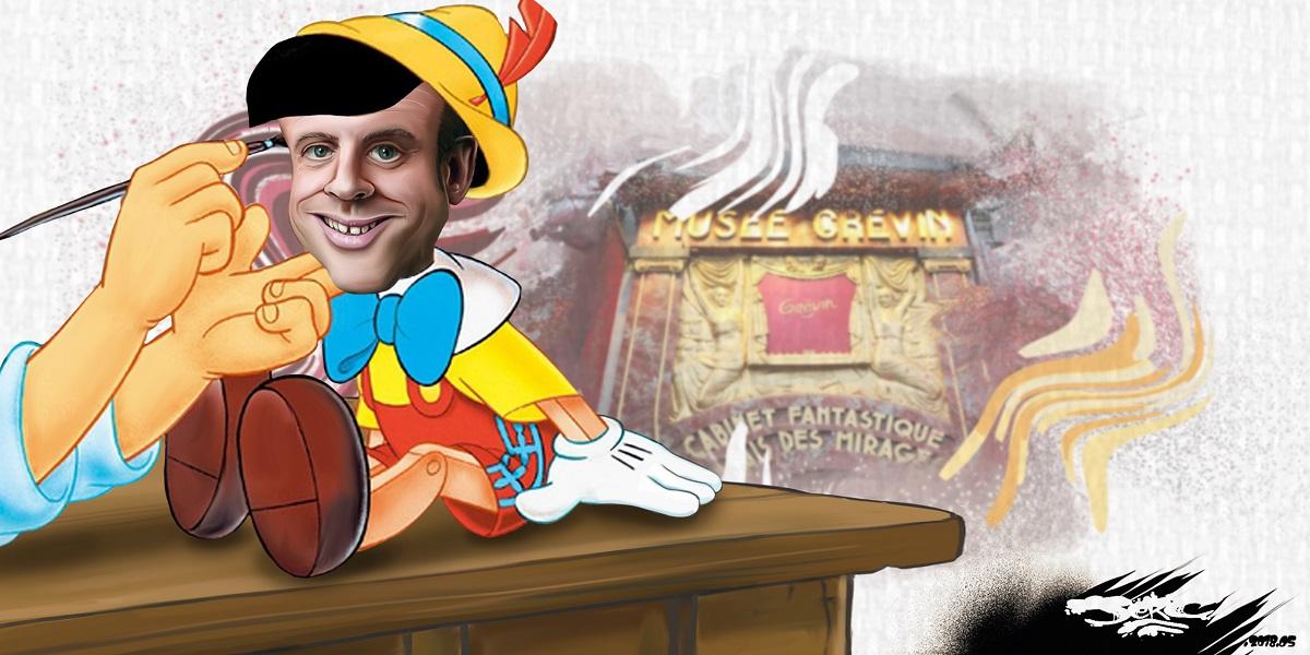 dessin d'actualité montrant Emmanuel Macron en Pinocchio du néolibéralisme