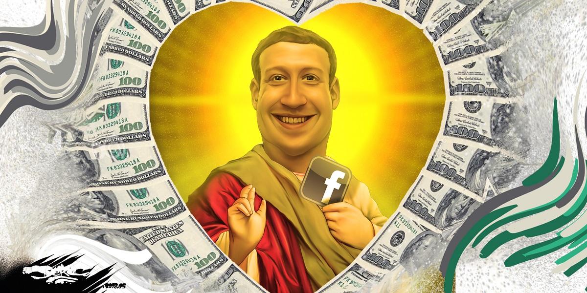 dessin d'actualité de Mark Zuckerberg en Saint patron de la Fraude Fiscale
