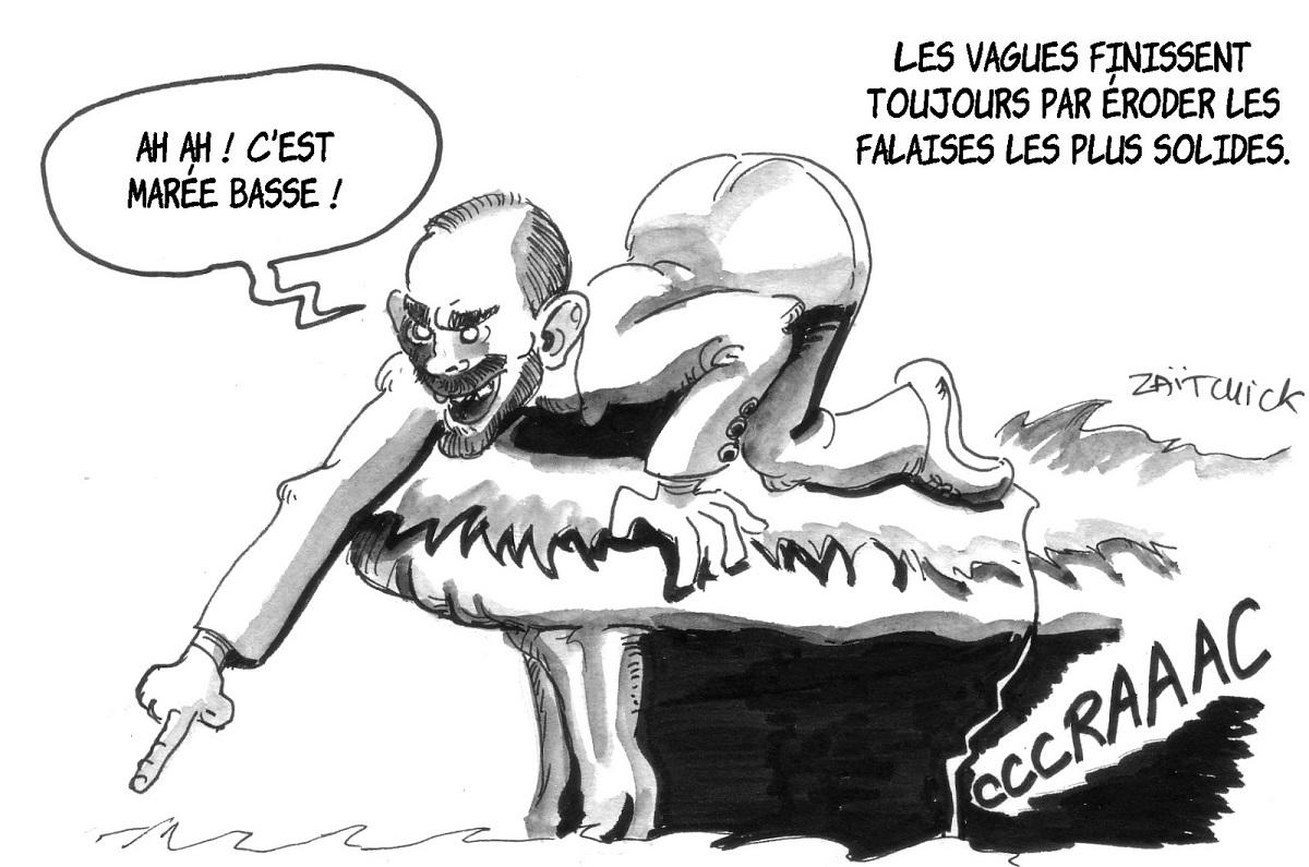 dessin d'actualité sur Édouard Philippe se moquant de la marée humaine depuis sa falaise