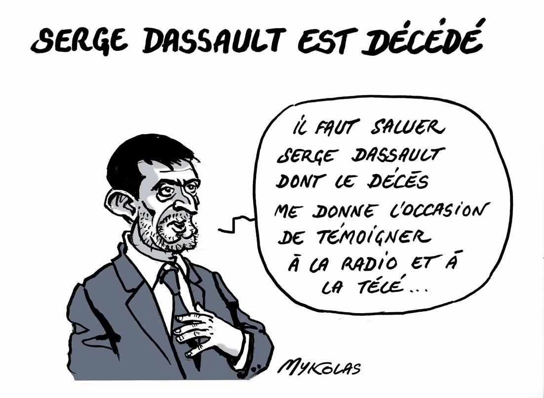dessin d'actualité montrant Manuel Valls parlant de la disparition de Serge Dassault