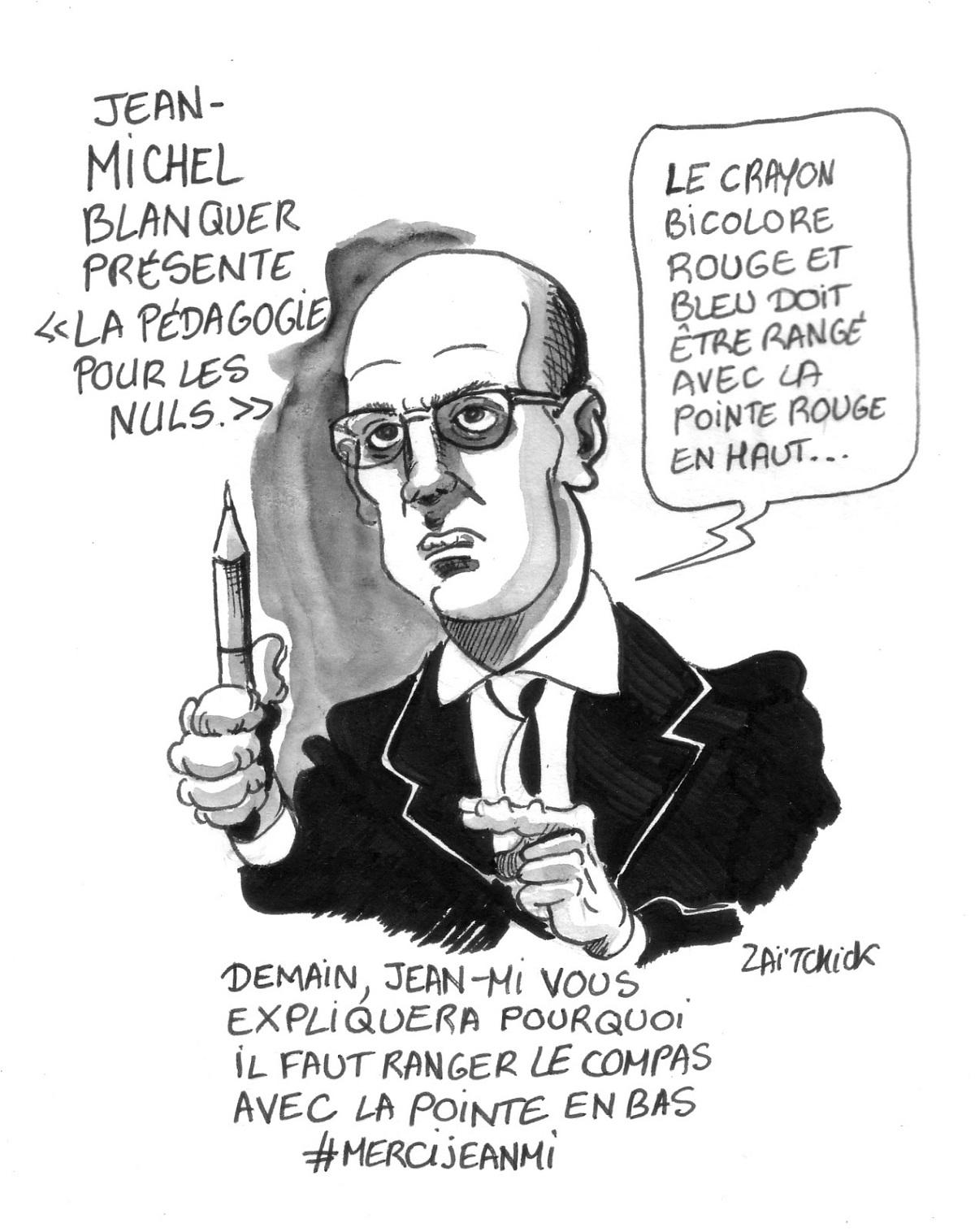 dessin d'actualité montrant Jean-Michel Blanquer donnant des conseils pédagogiques aux enseignements