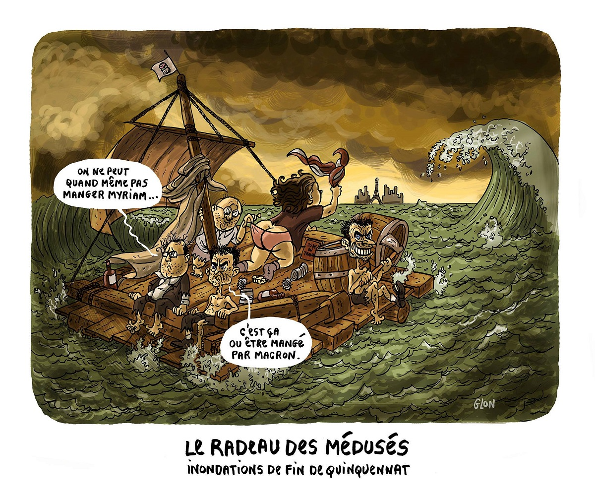 dessin d'actualité humoristique montrant la fin de quinquennat comme le Radeau de la Méduse