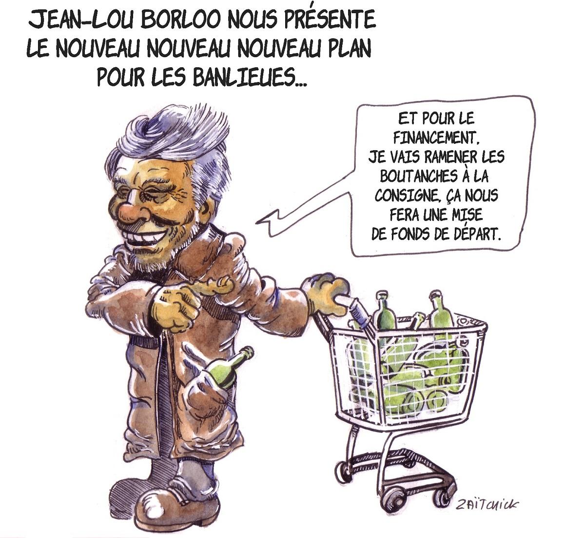 dessin d'actualité illustrant le nouveau plan Banlieue de Jean-Louis Borloo