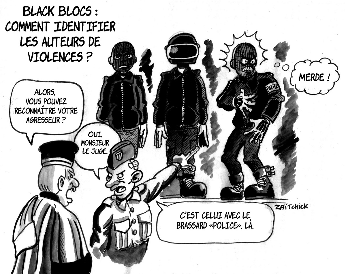 dessin d'actualité sur l'identification des auteurs de violence appartenant aux Black Blocs