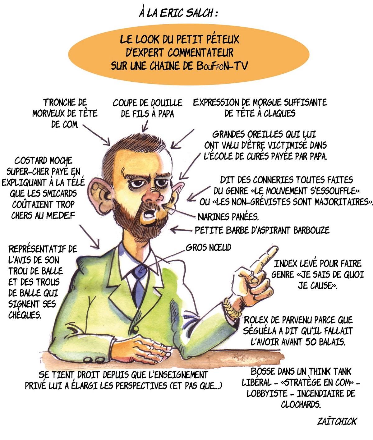 dessin d'actualité drôle présentant un expert de BFMTV