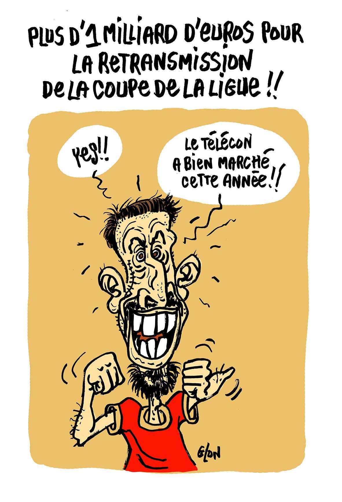 dessin d'actualité de Franck Ribéry parlant des droits de retransmission de la Coupe de la Ligue