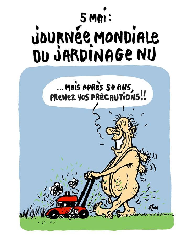 dessin d'actualité sur la journée mondiale du jardinage nu