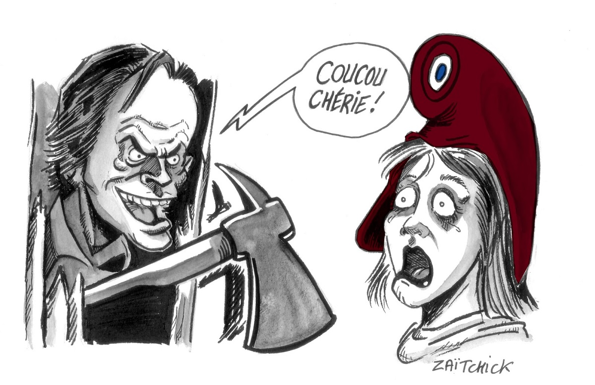 dessin d'actualité humoristique montrant Jack Nicholson en casseur s'invitant auprès de Marianne