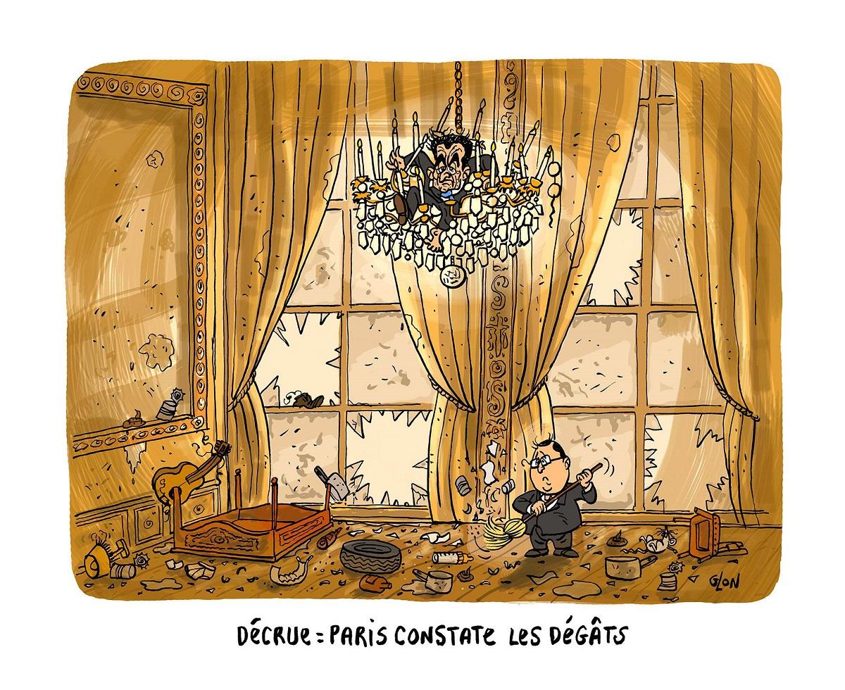 dessin d'actualité humoristique montrant les dégâts à l'Élysée après la crue de la Seine