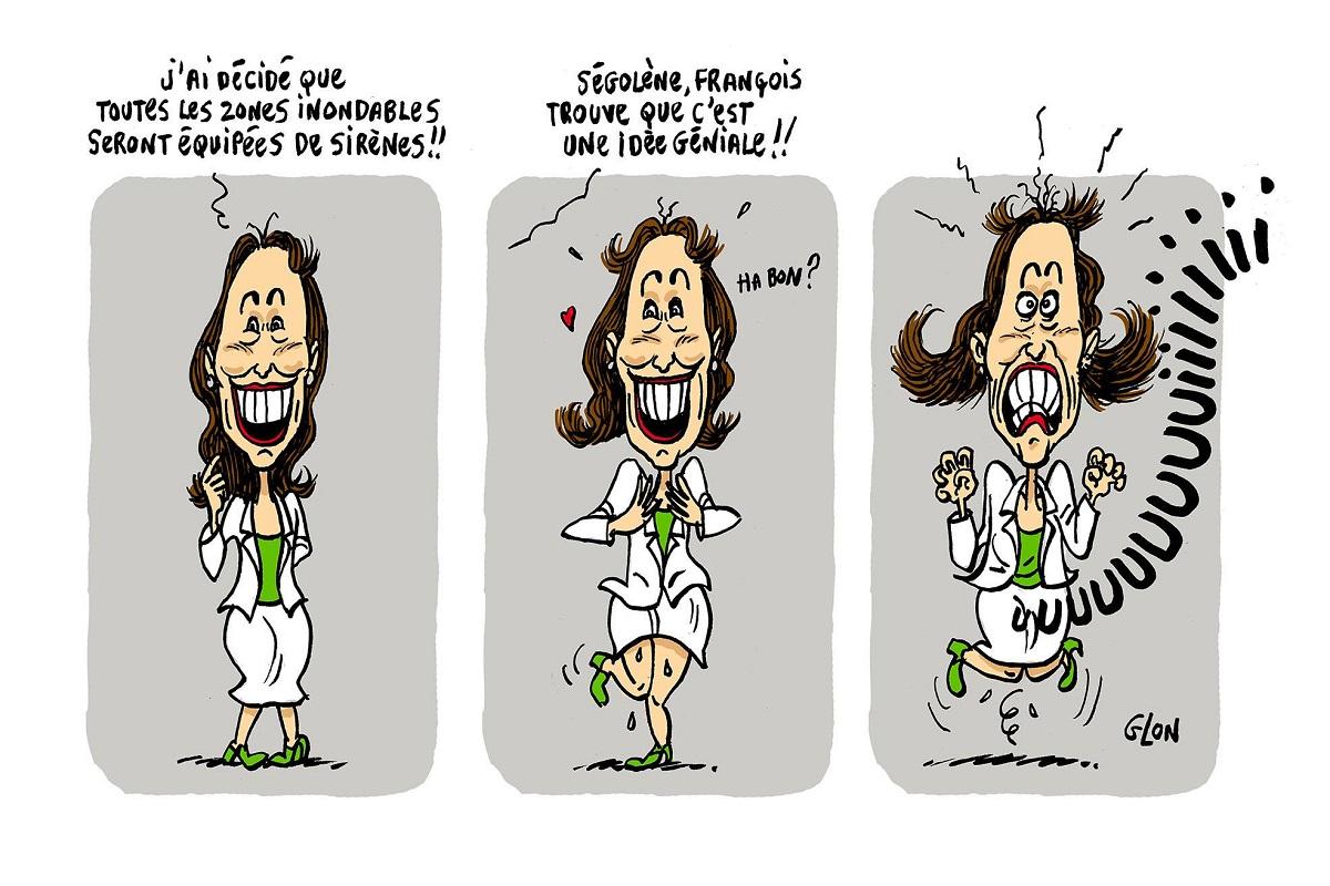 dessin d'actualité humoristique de Ségolène Royal envisageant des mesures de sécurité pour les zones inondables