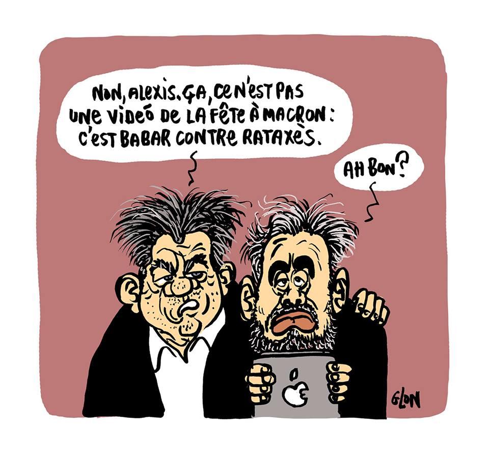 dessin d'actualité drôle d'Alexis Corbière et Jean-Luc Mélenchon parlant de La Fête à Macron