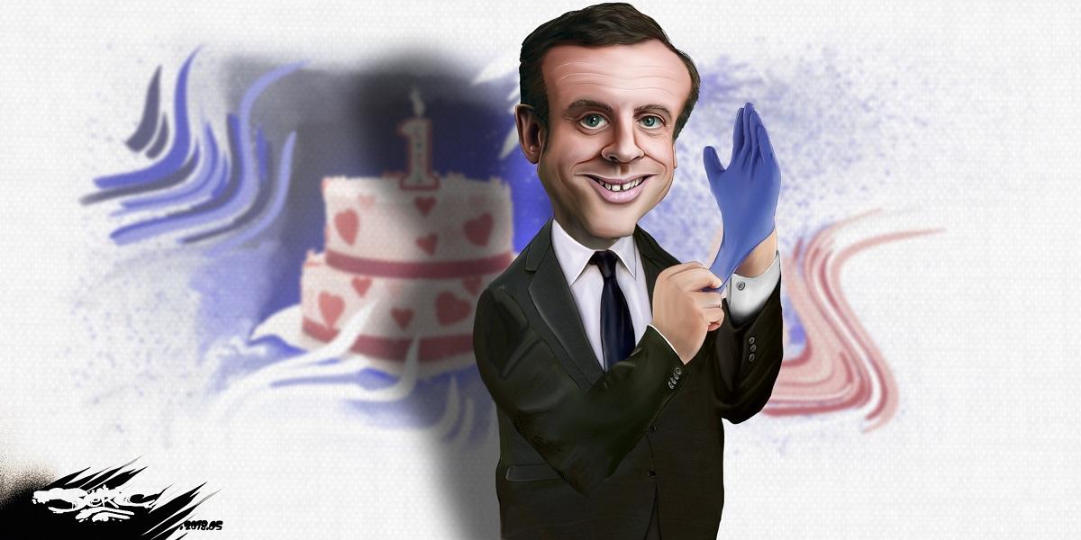 dessin d'actualité sur l'anniversaire de l'élection d'Emmanuel Macron