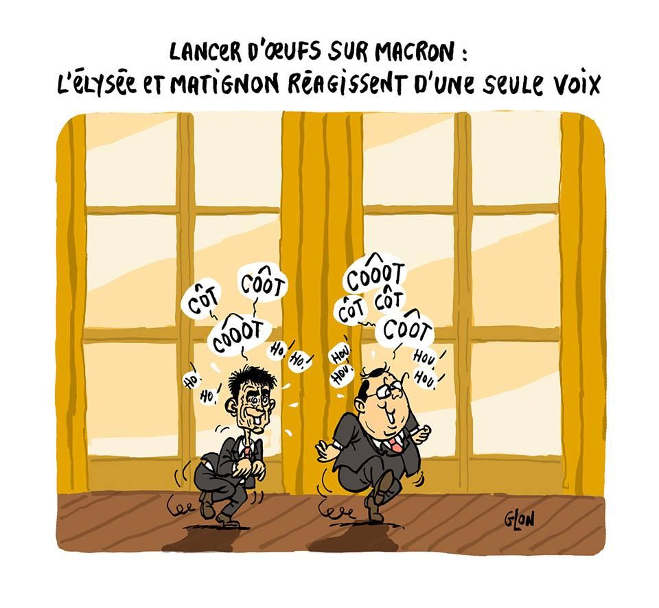 dessin d'actualité de François Hollande et Manuel Valls faisant la poule