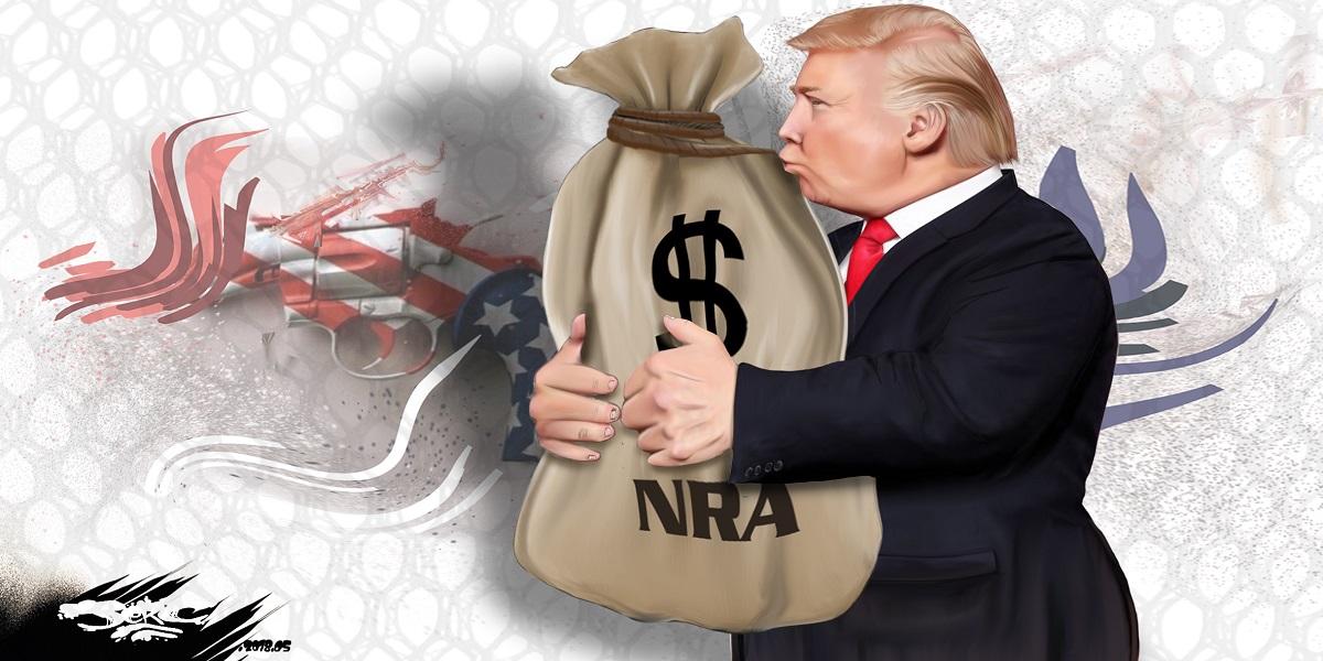 dessin d'actualité humoristique montrant les relations entre Donald Trump et la NRA