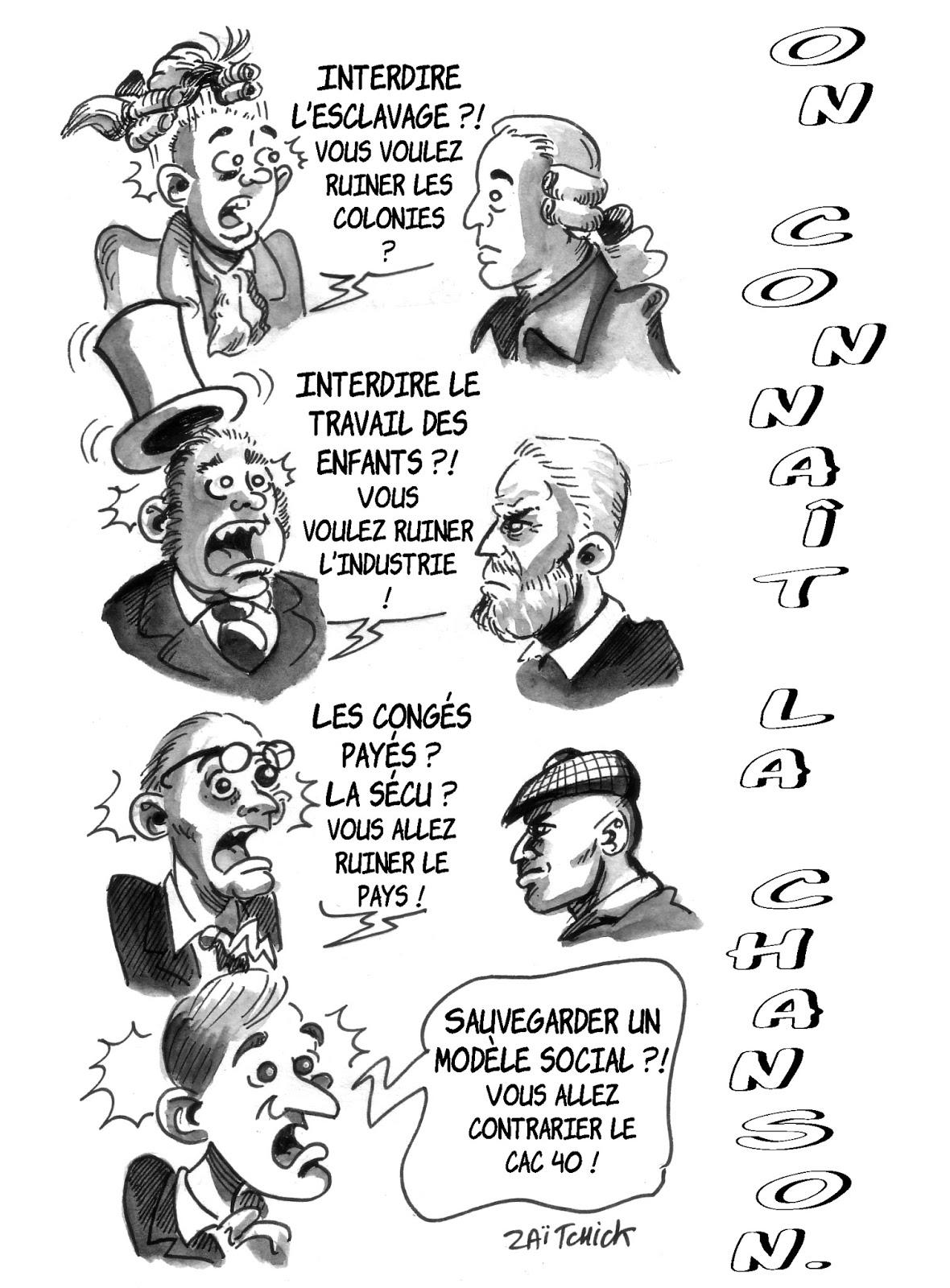 dessin d'actualité montrant l'évolution des préjugés économiques au fil de l'Histoire