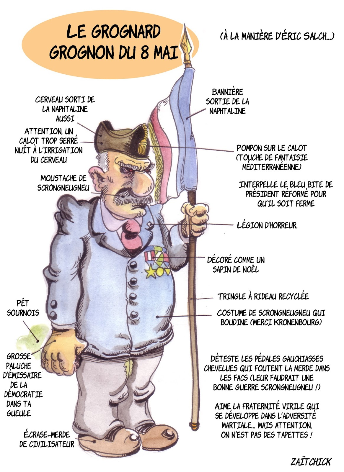 dessin d'actualité montrant le vétéran qui a interpellé Emmanuel Macron lors de la cérémonie du 8 mai