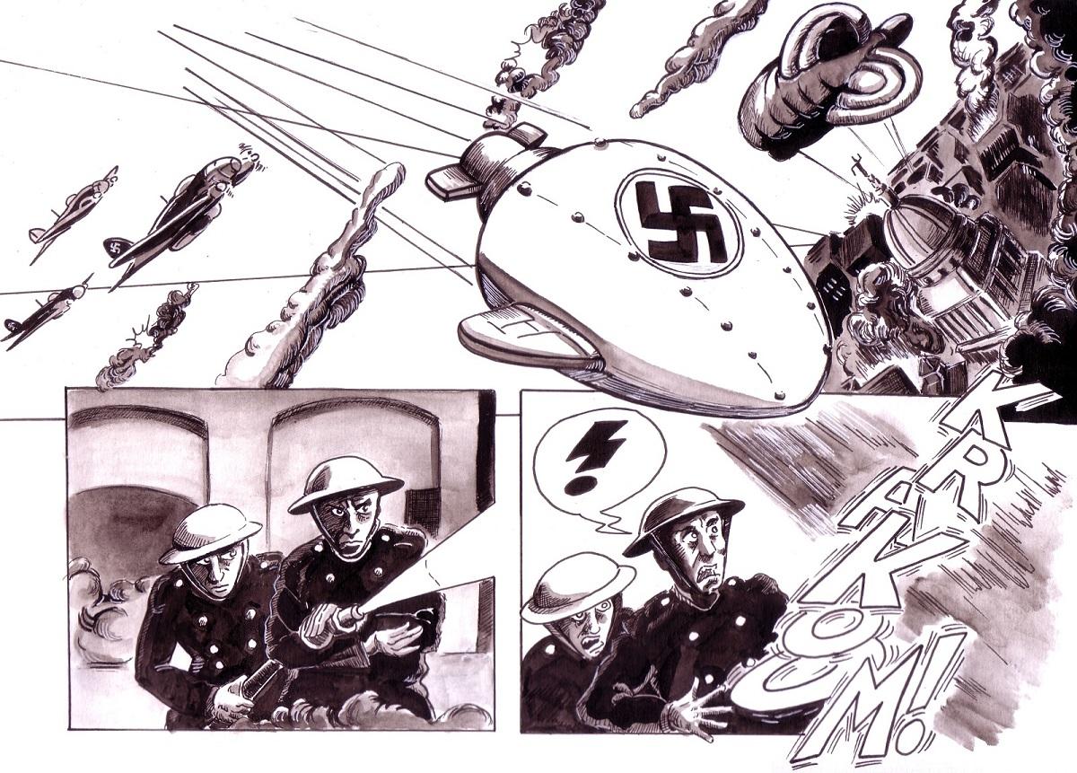 """Planche test 2a de la BD """"Commando Blitz"""""""