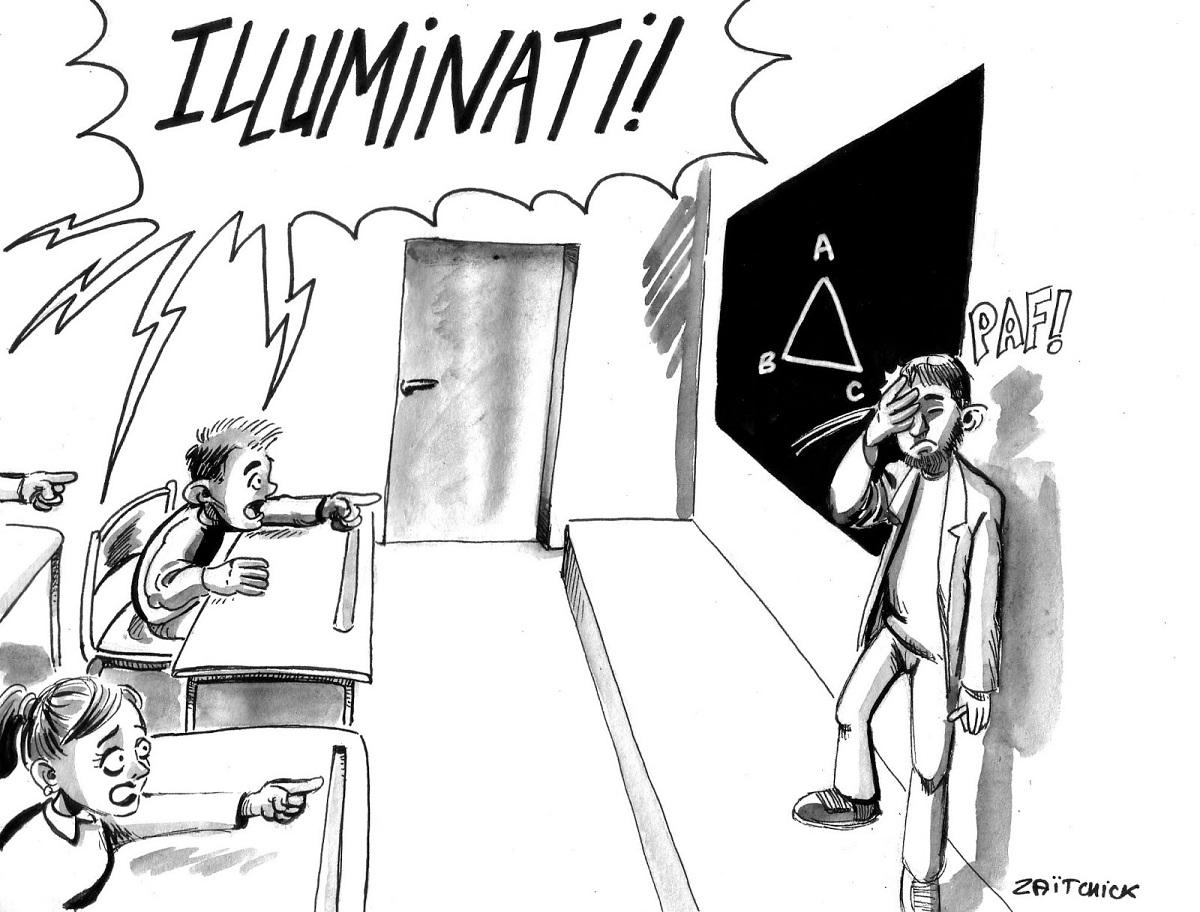 dessin d'actualité humoristique illustrant les théories complotistes de la culture Internet