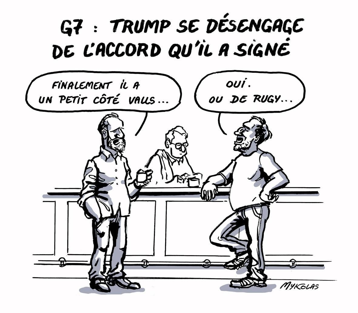 dessin d'actualité de consommateur dans un bar parlant de Donald Trump et du G7