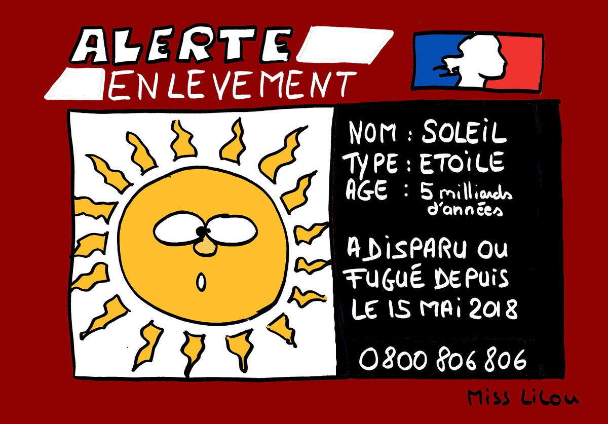 dessin d'actualité de l'alerte enlèvement du soleil