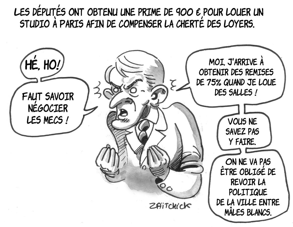 dessin d'actualité montrant Emmanuel Macron parlant des députés peinant à se loger à Paris