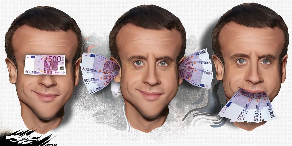 dessin d'actualité d'Emmanuel Macron ne voyant pas, n'entendant pas, et ne disant rien